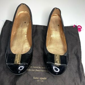 Kate Spade Black Patent Leather Flats Shoes Bows